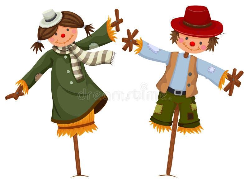 Spaventapasseri vestiti come la ragazza ed il ragazzo illustrazione vettoriale