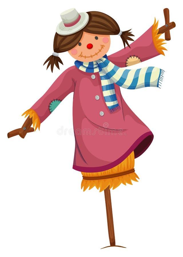 Spaventapasseri vestito in vestiti della donna illustrazione vettoriale