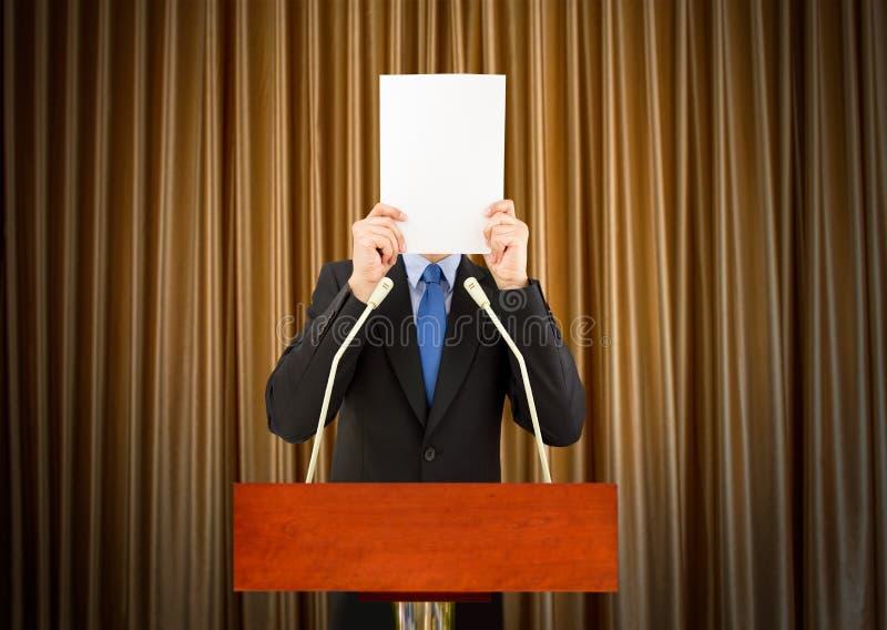 Spaventato a parlare pubblico fotografie stock libere da diritti