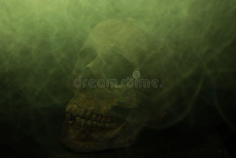 Spavento del fuoco del cranio e mostro del fumo fotografie stock