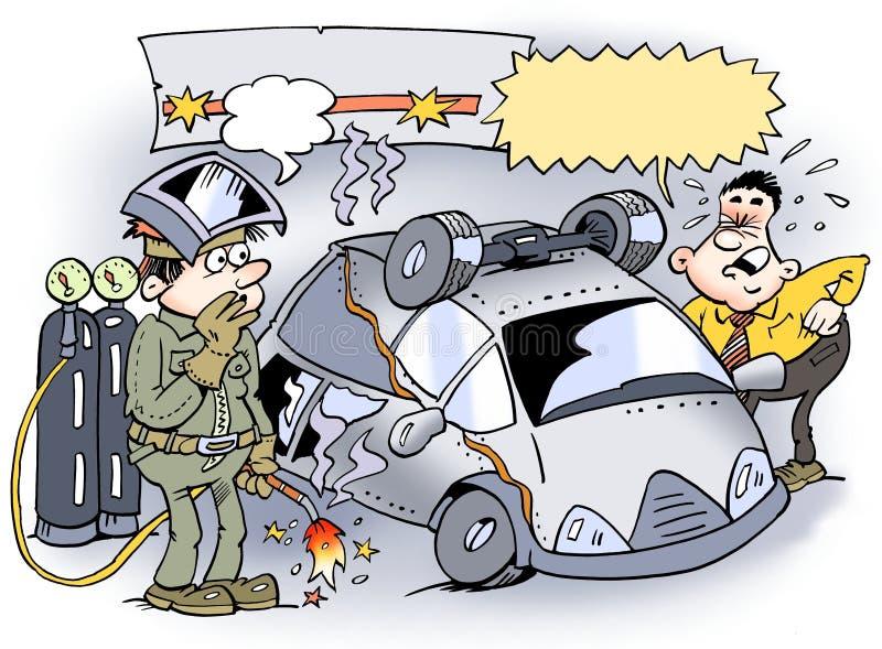 Spaw stawiał samochodowy mylnego wpólnie royalty ilustracja