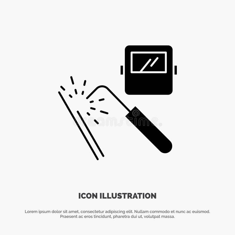 Spawający, maszyna, maska, fabryka, przemysłu glifu ikony stały wektor royalty ilustracja