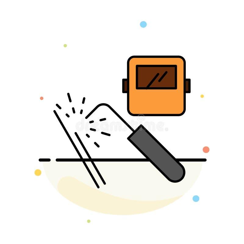 Spawający, maszyna, maska, fabryka, przemysłu koloru ikony Abstrakcjonistyczny Płaski szablon ilustracja wektor