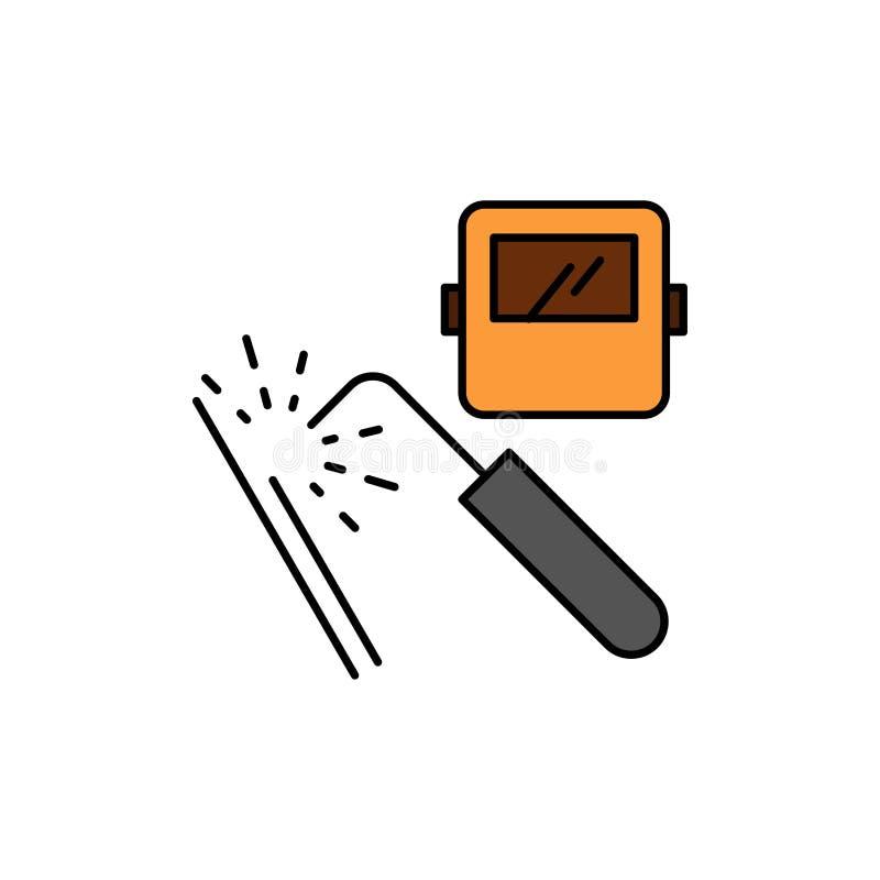 Spawający, maszyna, maska, fabryka, przemysłu koloru Płaska ikona Wektorowy ikona sztandaru szablon ilustracji