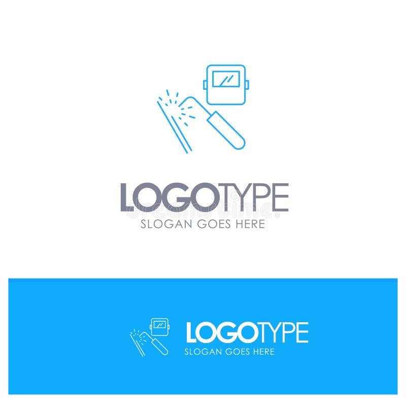Spawający, maszyna, maska, fabryka, przemysłu konturu Błękitny logo z miejscem dla tagline ilustracji