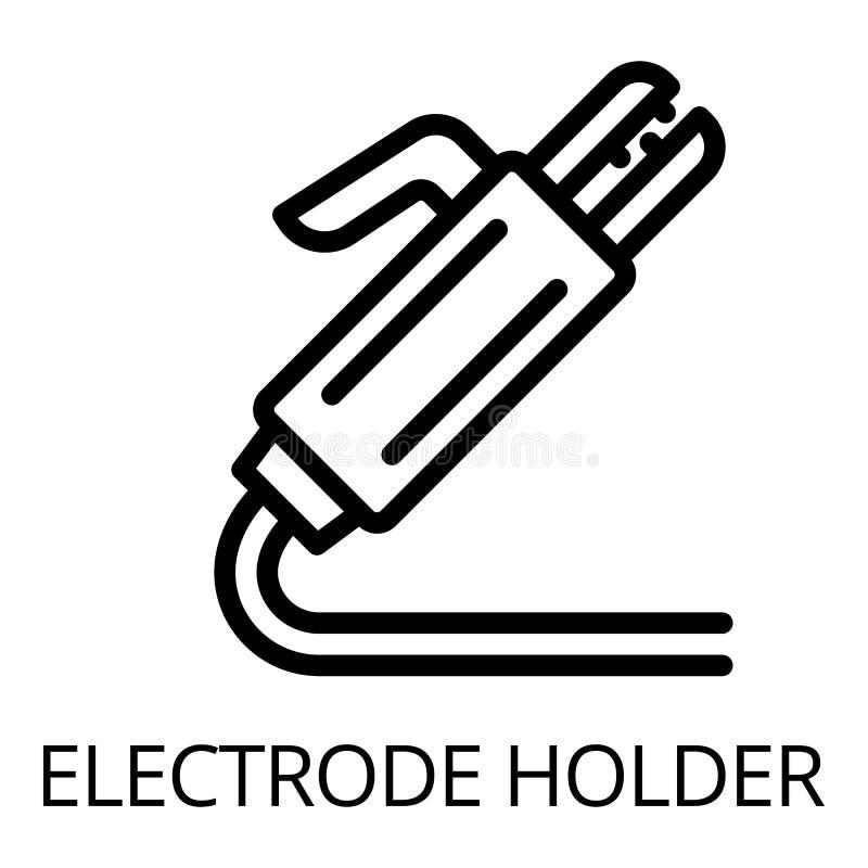 Spawalnicza elektrodowego właściciela ikona, konturu styl ilustracja wektor