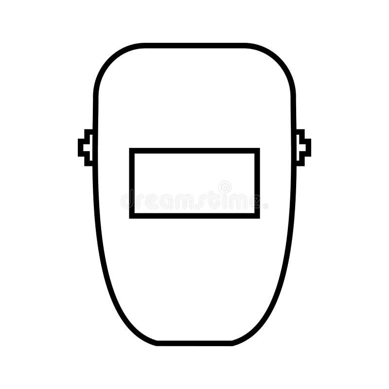 Spawalnicza maskowa ikona, konturu styl ilustracja wektor