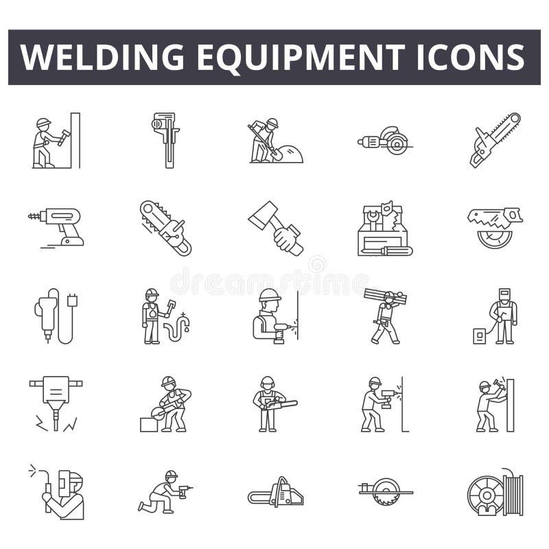 Spawalniczego wyposażenia linii ikony, znaki, wektoru set, kontur ilustracji pojęcie ilustracji