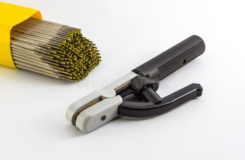 Spawalniczy elektrodowy właściciel i spawalniczych elektrod drut. obrazy stock