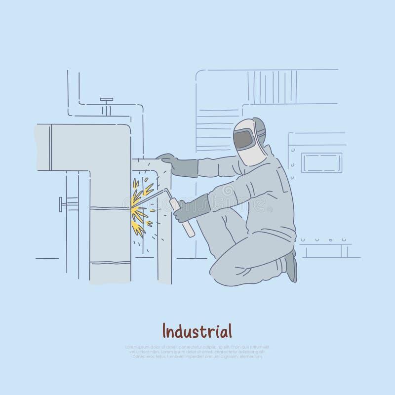 Spawalniczy operator przy pracą, pracownik w jednolitym i ochronnym zbawczym hełmie, rękawiczki spawa stalowej drymby sztandar ilustracji