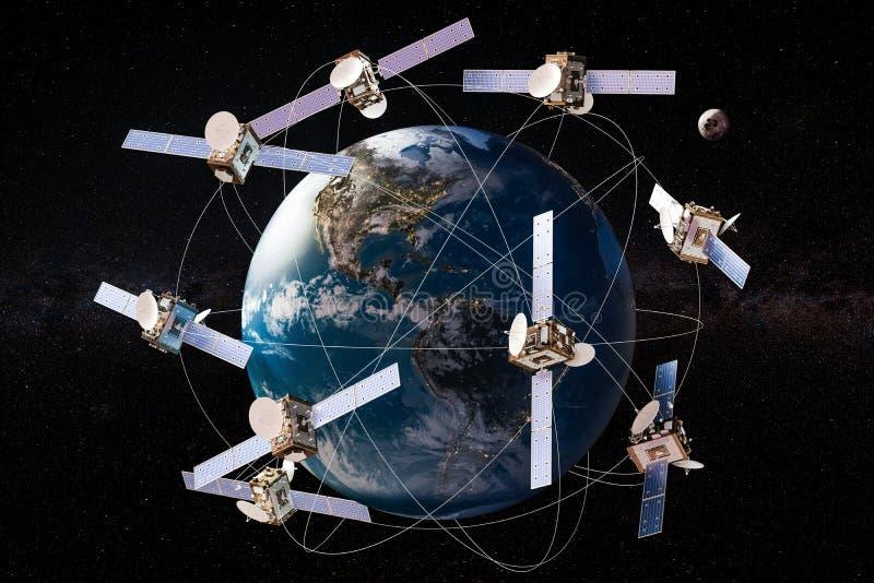 Spazi i satelliti nelle orbite intorno al globo della terra, la rappresentazione 3D illustrazione di stock