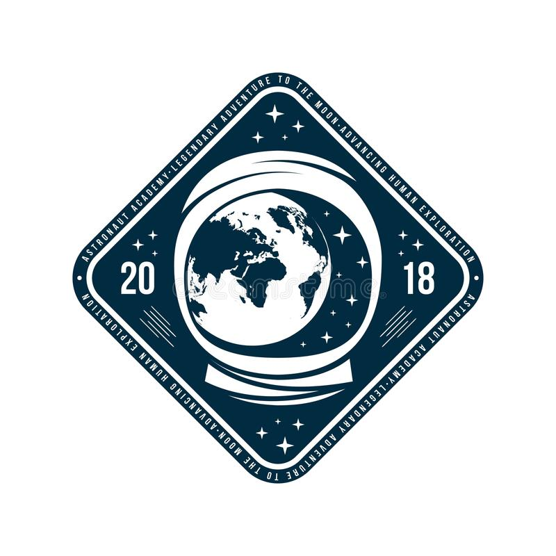 Spazi il distintivo con il casco dell'astronauta ed il pianeta Terra in vista dallo spazio Etichetta d'annata dell'astronauta royalty illustrazione gratis