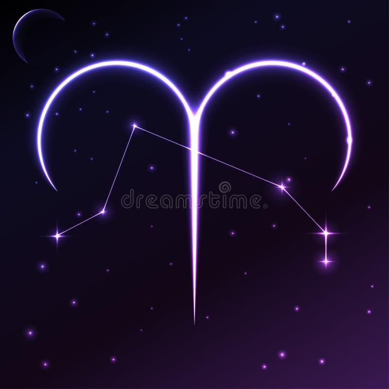 Spazi il simbolo dell'Ariete del concetto dell'oroscopo e dello zodiaco, dell'arte di vettore e dell'illustrazione royalty illustrazione gratis