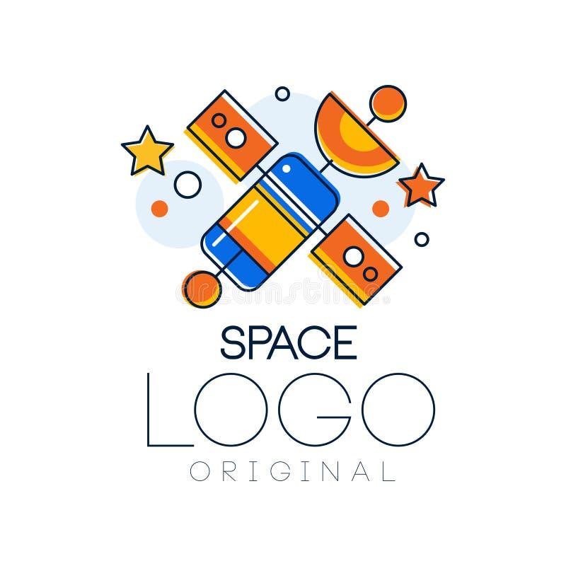Spazi l'originale di logo, l'esplorazione dell'etichetta dello spazio con l'illustrazione satellite di vettore su un fondo bianco illustrazione vettoriale