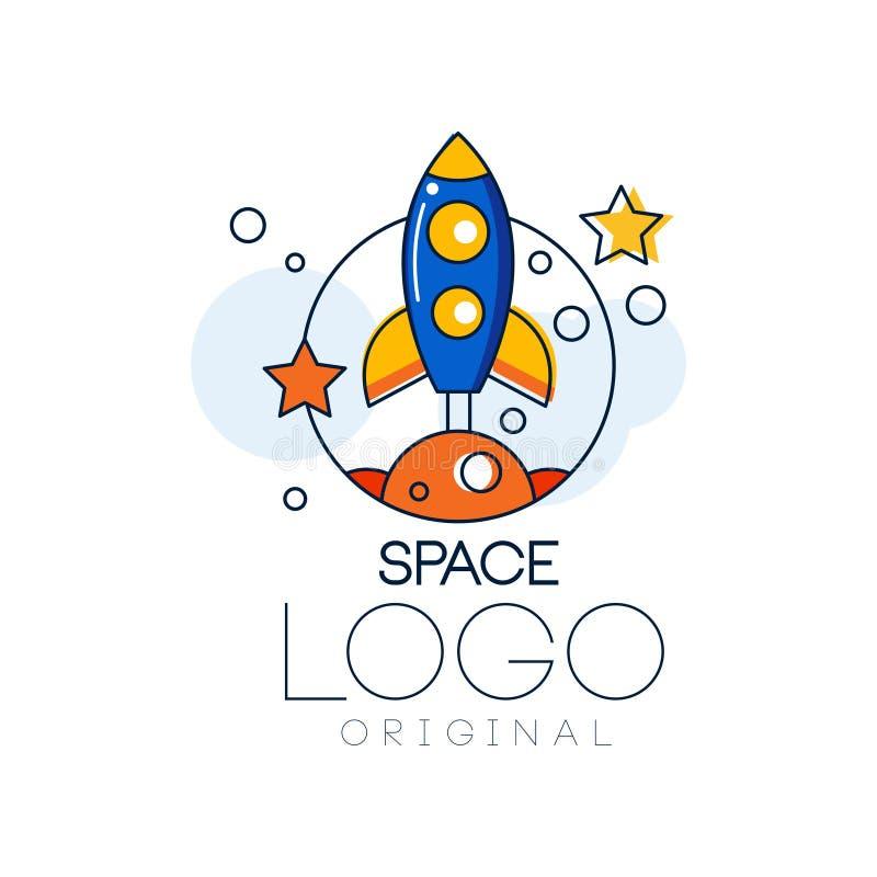 Spazi l'originale di logo, l'esplorazione dell'etichetta dello spazio con l'illustrazione di vettore del razzo su un fondo bianco royalty illustrazione gratis