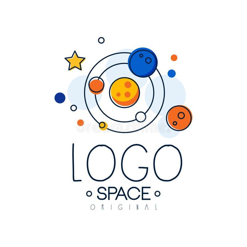 Spazi l'originale di logo, l'esplorazione dell'etichetta dello spazio con l'illustrazione di vettore del sistema solare su un fon illustrazione vettoriale