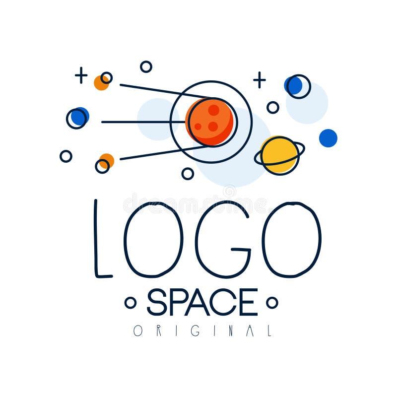 Spazi l'originale di logo, l'esplorazione dell'illustrazione di vettore dell'etichetta dello spazio su un fondo bianco royalty illustrazione gratis