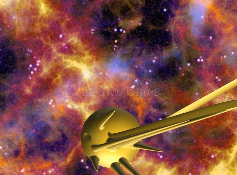 Spazi la scena con i pianeti 3D/l'illustrazione astronavi illustrazione vettoriale