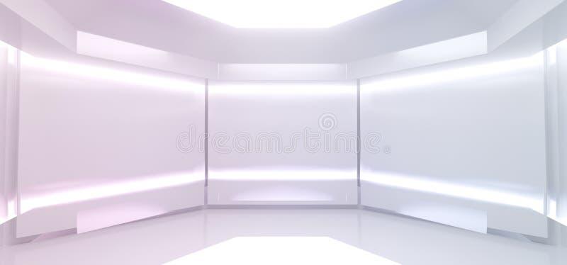 Spaziatura aliena Futuristica Sci Fi Reflective Bright Vuota Neon Led Glowing Virtual White Room Hall Stage Podium Cyber Backgrou royalty illustrazione gratis