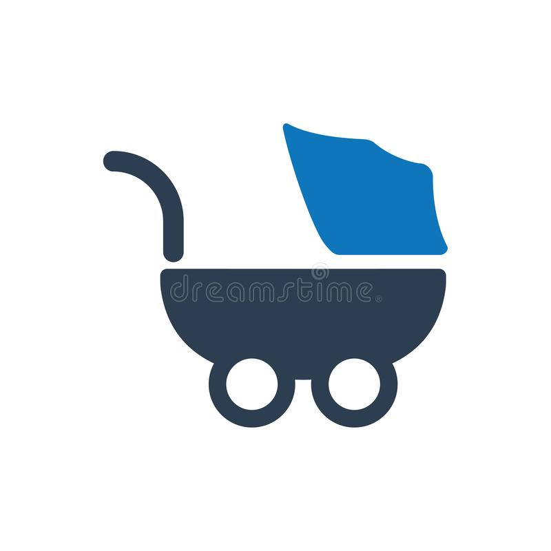 Spaziergänger, Kinderwagen-Ikone vektor abbildung