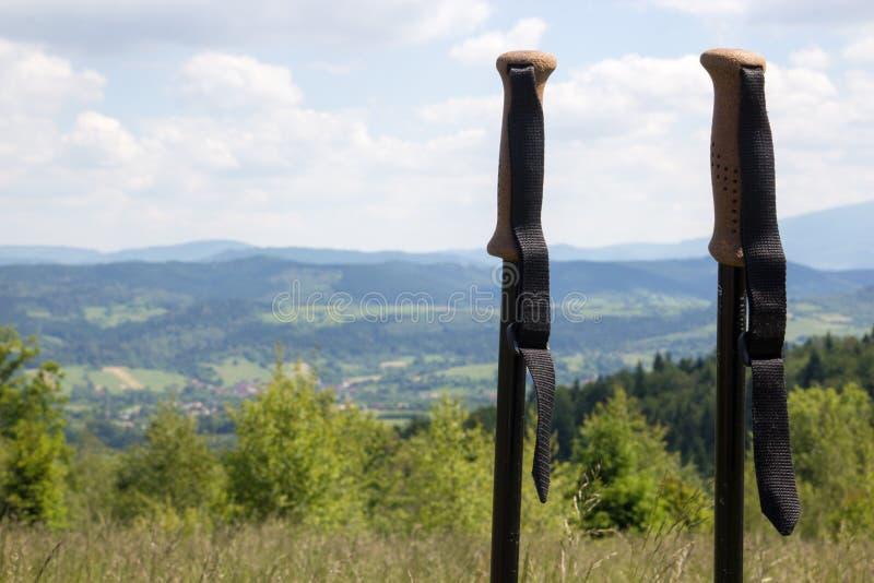 Spazierstöcke gegen eine Berglandschaft stockfotos