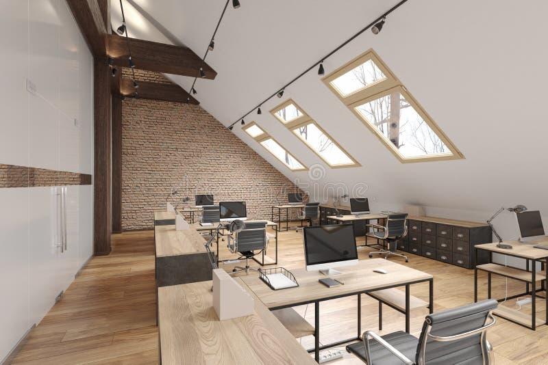 Spazio aperto dell'ufficio della soffitta con i fasci, le porte di vetro, il muro di mattoni, il pavimento di legno, la mobilia e royalty illustrazione gratis