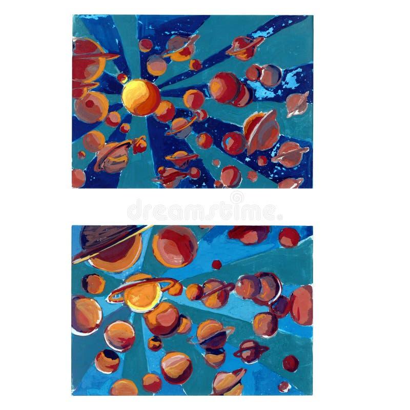 Spazio astratto con i pianeti della gouache royalty illustrazione gratis