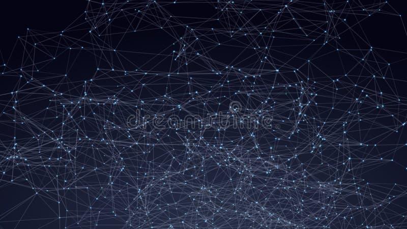 Spazio astratto dei triangoli in basso poli Fondo scuro con i punti e le linee di collegamento Struttura leggera del collegamento royalty illustrazione gratis