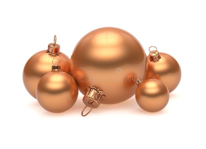 Spazio in bianco brillante della decorazione del gruppo della palla di Natale dorato royalty illustrazione gratis