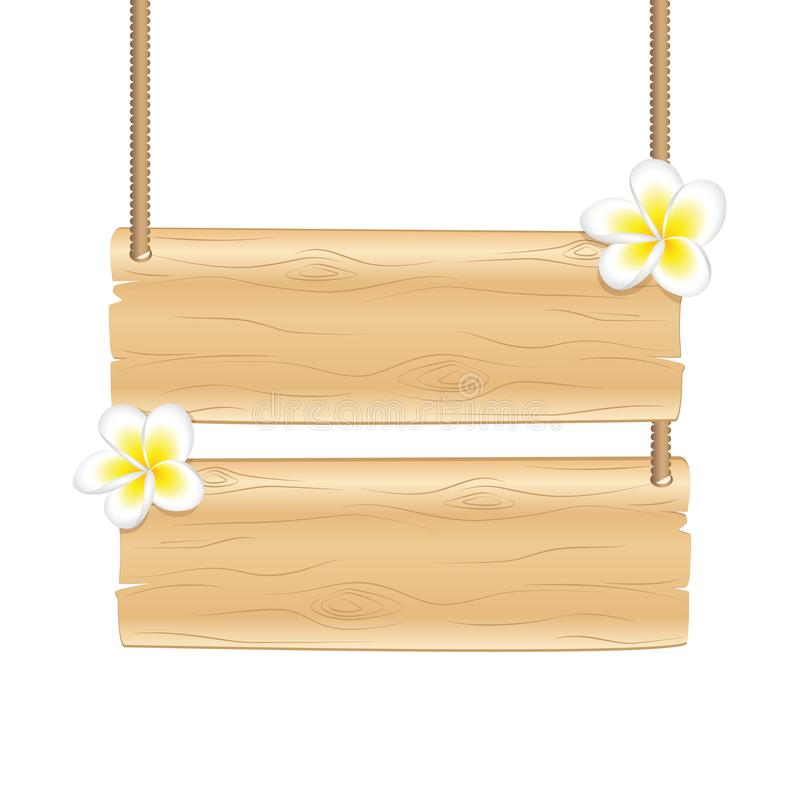 Spazio in bianco che appende segno di legno con i fiori tropicali del frangipane illustrazione vettoriale