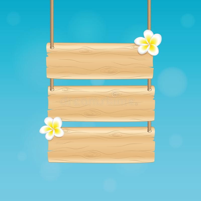 Spazio in bianco che appende segno di legno con i fiori tropicali del frangipane su fondo blu illustrazione di stock
