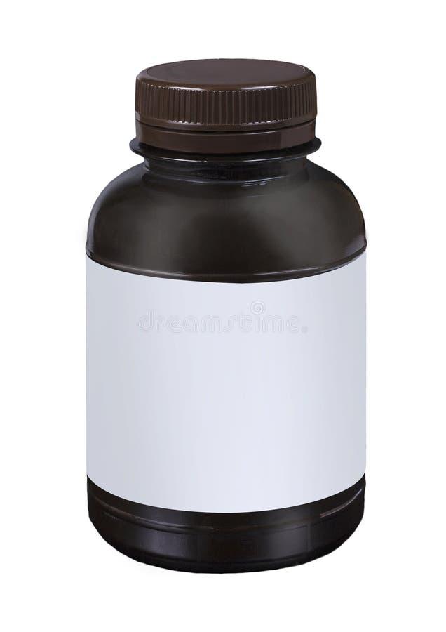 Spazio in bianco che imballa barattolo di plastica marrone con il cappuccio marrone isolato su fondo bianco immagini stock libere da diritti