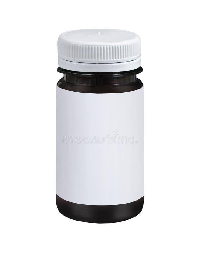 Spazio in bianco che imballa barattolo di plastica marrone con il cappuccio bianco isolato su fondo bianco immagine stock libera da diritti