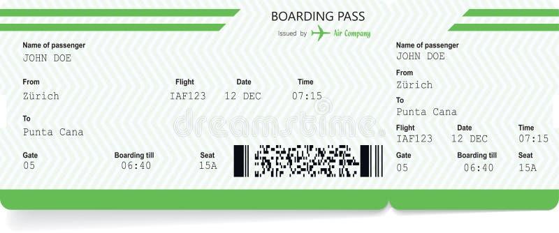 Spazio in bianco del biglietto di aeroplano Passaggio di imbarco verde illustrazione vettoriale
