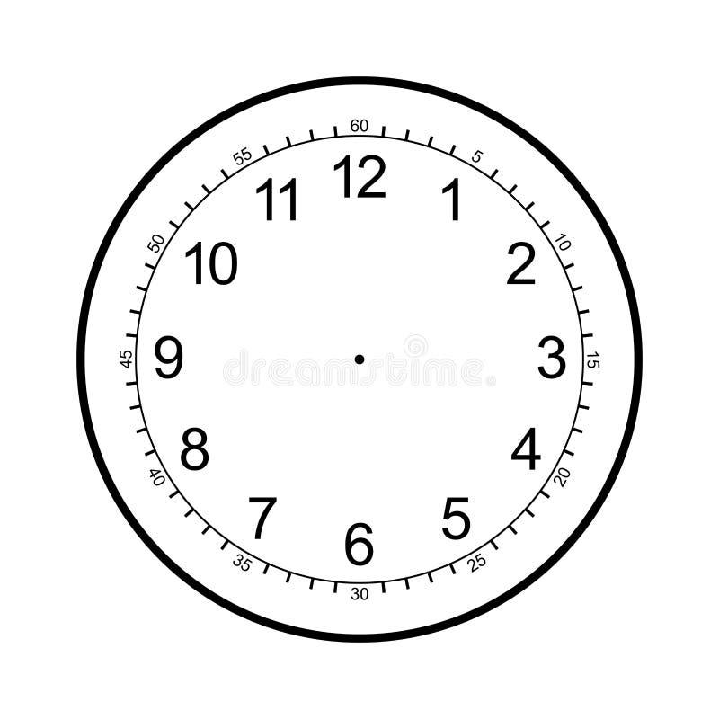 Spazio in bianco del fronte di orologio isolato su fondo bianco illustrazione vettoriale