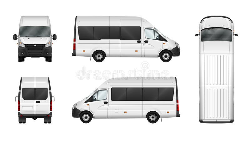 Spazio in bianco dell'illustrazione di van vector del carico su bianco Annuncio pubblicitario della città illustrazione vettoriale