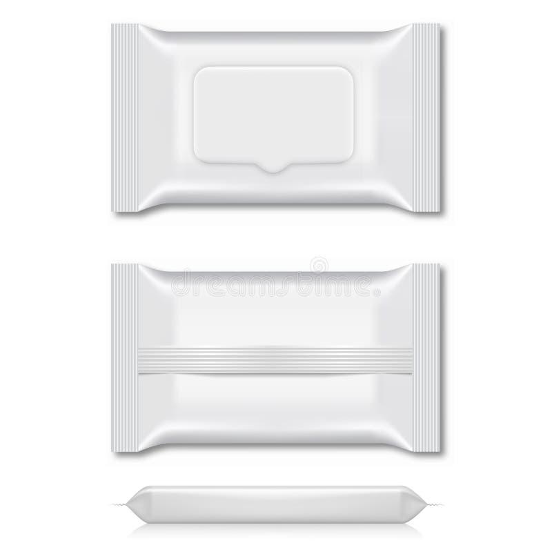 Spazio in bianco dell'imballaggio bagnato di flusso della strofinata per la vostra progettazione tre viste Vettore royalty illustrazione gratis