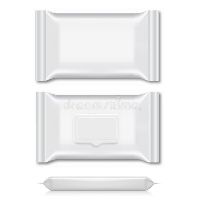 Spazio in bianco dell'imballaggio bagnato di flusso della strofinata per la vostra progettazione tre viste Vettore illustrazione vettoriale