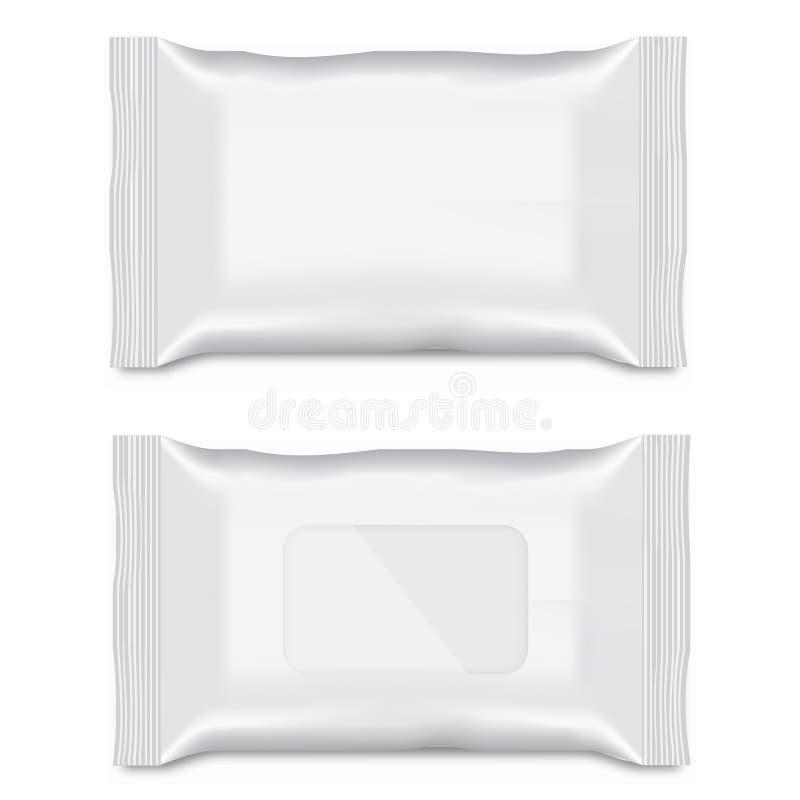 Spazio in bianco dell'imballaggio bagnato di flusso della strofinata per la vostra progettazione Vettore illustrazione di stock