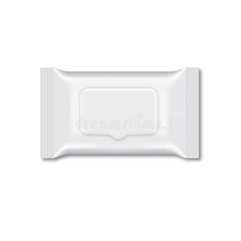 Spazio in bianco dell'imballaggio bagnato di flusso della strofinata Vettore illustrazione di stock