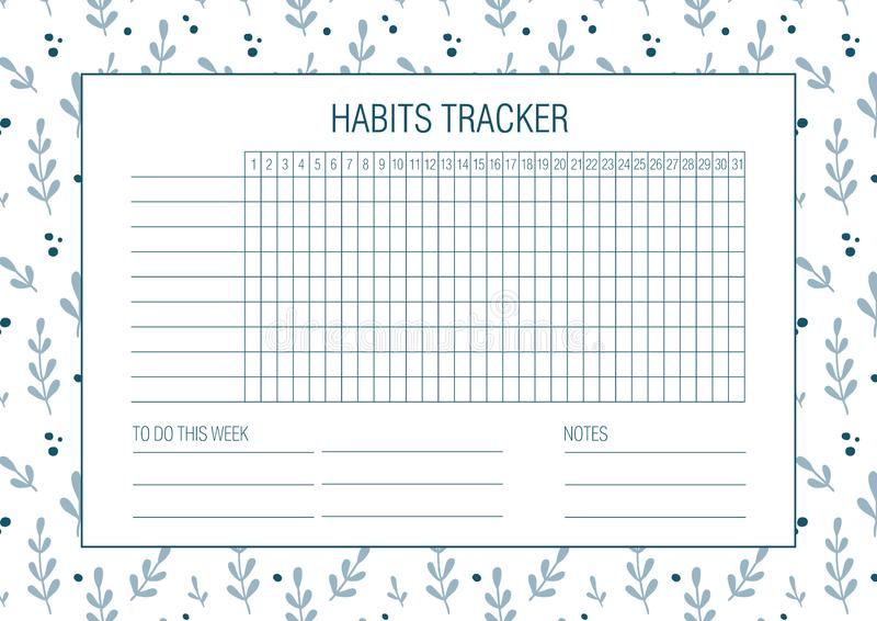 Spazio in bianco dell'inseguitore di abitudine con struttura floreale disegnata a mano illustrazione di stock