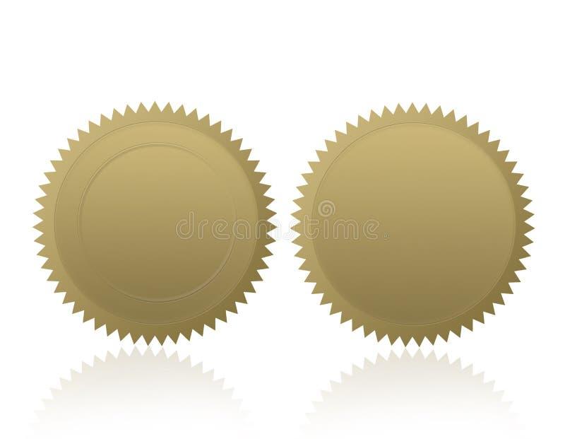 Spazio in bianco di /Stamp /Medal della guarnizione dell'oro royalty illustrazione gratis