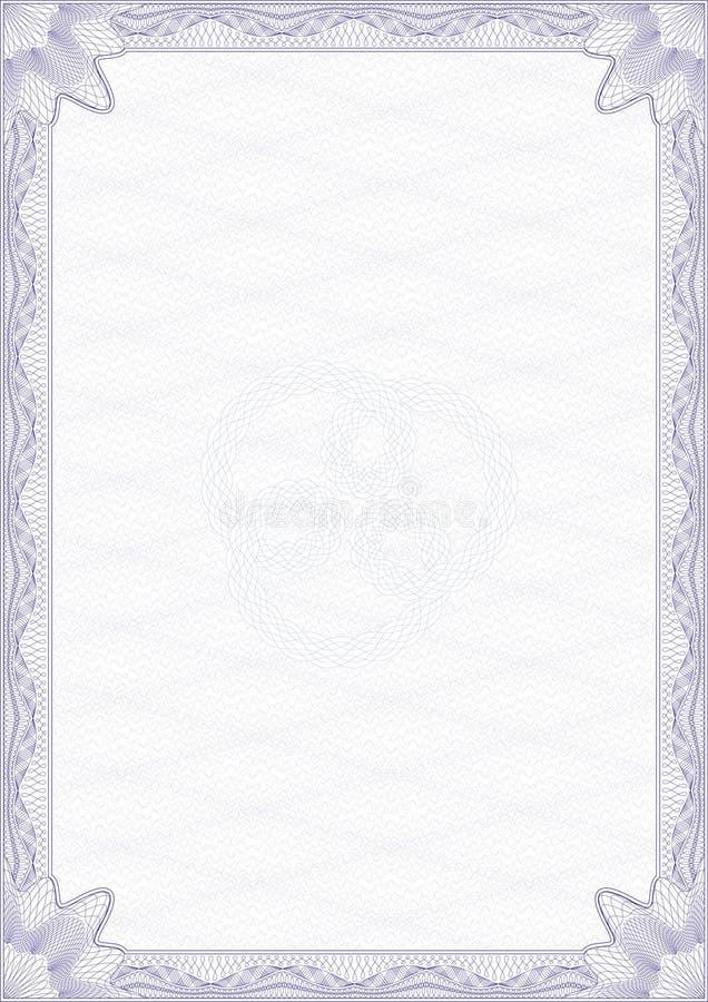Spazio in bianco di stile della rabescatura per il certificato illustrazione di stock