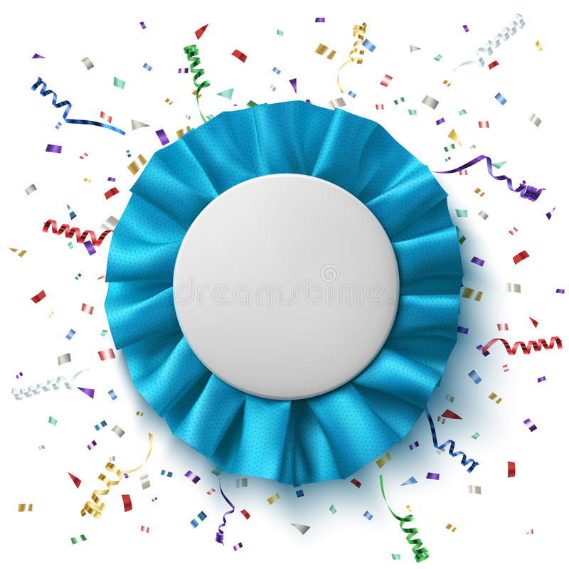 Spazio in bianco, nastro blu realistico del premio del tessuto illustrazione vettoriale