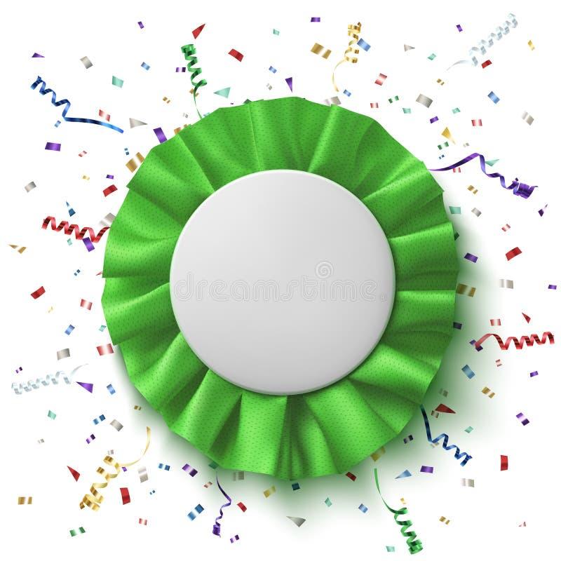 Spazio in bianco, nastro verde realistico del premio del tessuto illustrazione vettoriale