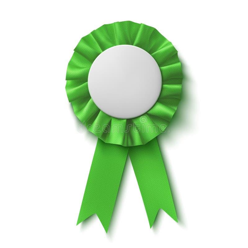 Spazio in bianco, nastro verde realistico del premio del tessuto royalty illustrazione gratis