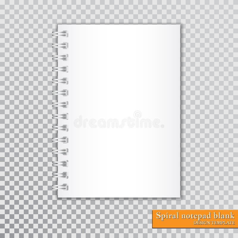 Spazio in bianco a spirale realistico del blocco note su fondo trasparente Vettore illustrazione di stock