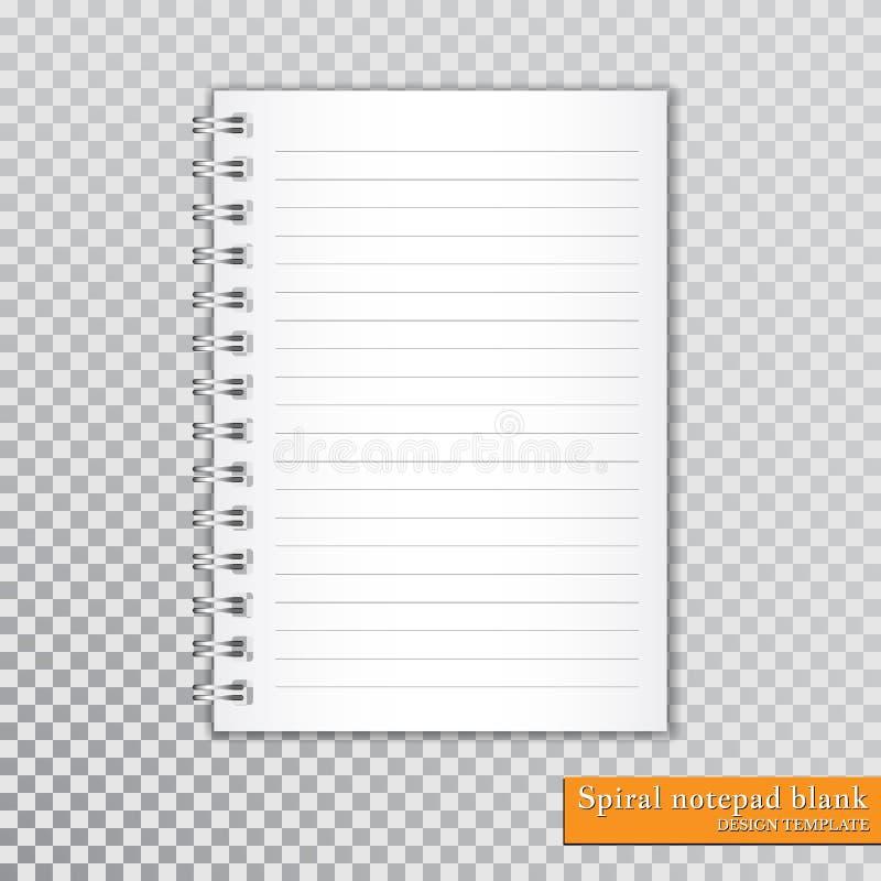 Spazio in bianco a spirale realistico del blocco note su fondo trasparente Vettore illustrazione vettoriale