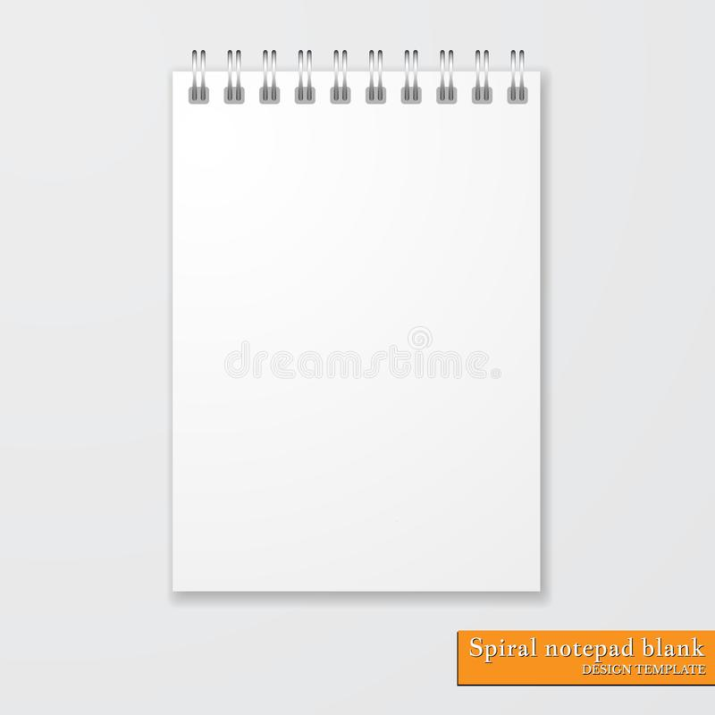 Spazio in bianco a spirale realistico del blocco note su fondo bianco Vettore royalty illustrazione gratis