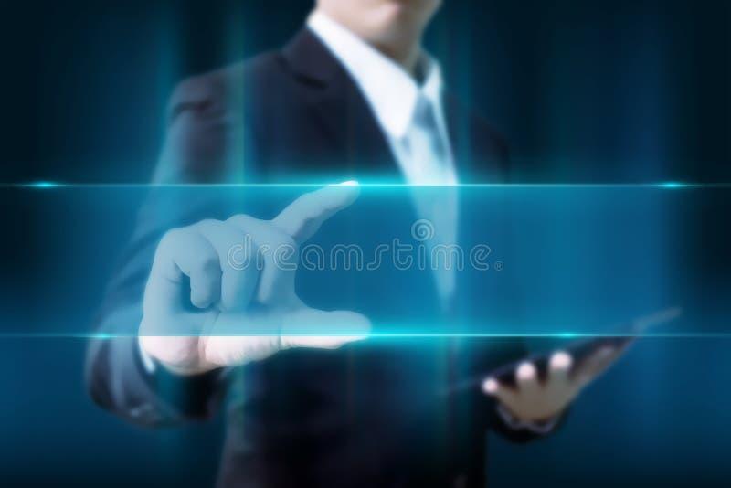 Spazio blu di illuminazione di tocco dell'uomo d'affari per il vostro testo in poliziotto immagine stock libera da diritti